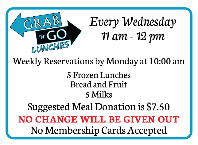 Grab and Go Lunches every Wednesday, 11am - 12pm